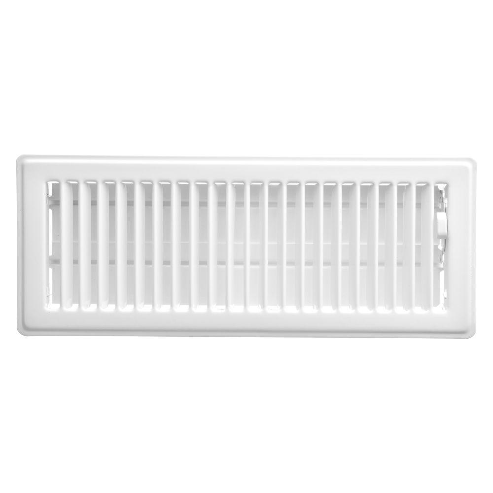 4  x 12 Registre de plancher  - Blanc
