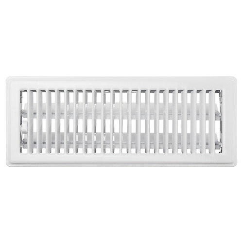 4 inch x 12 inch Floor Register - White