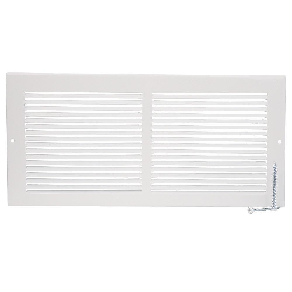 14 inch x 6 inch Baseboard Return Air Grille - White