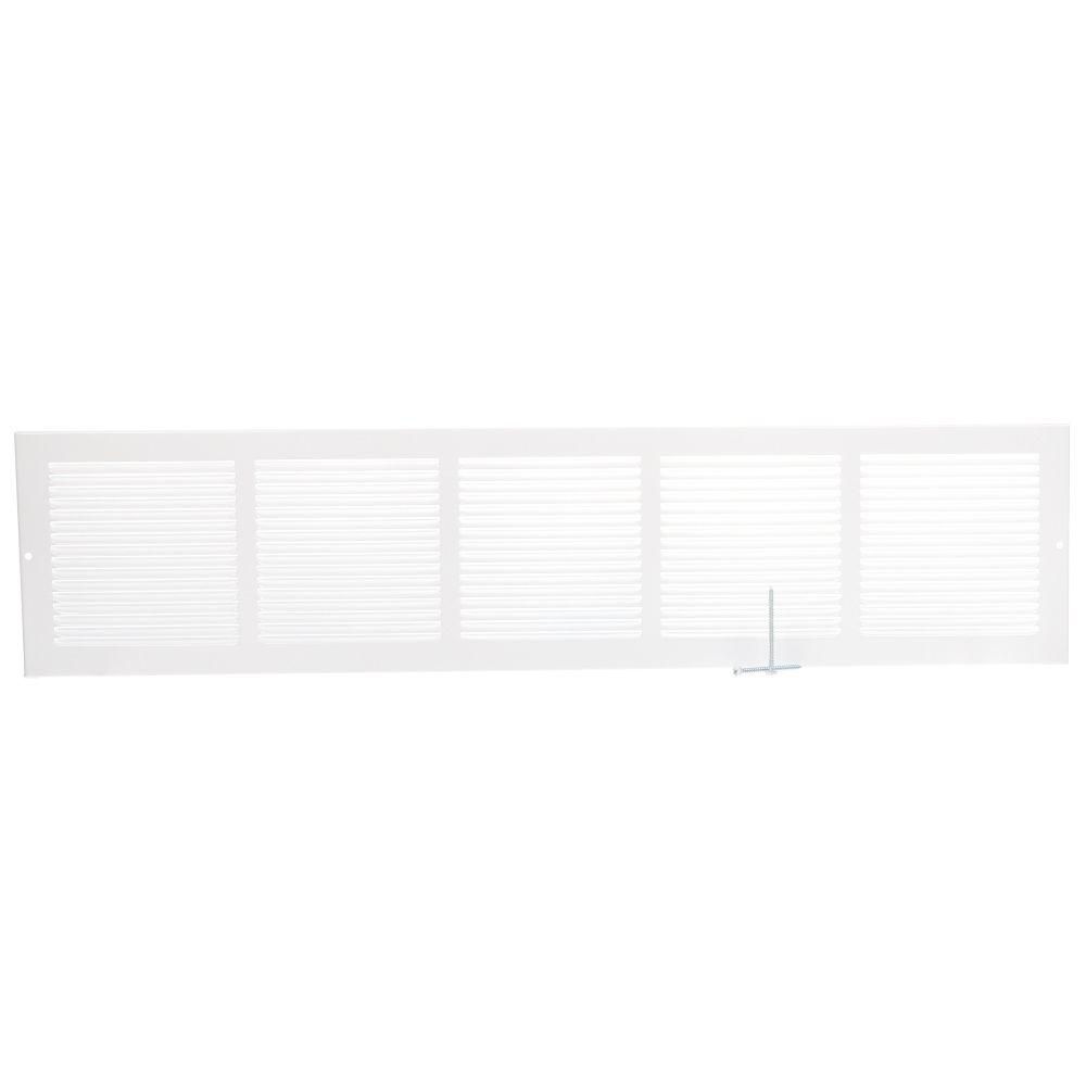30  x 6 Grille de plinthe de retour d'air - Blanc