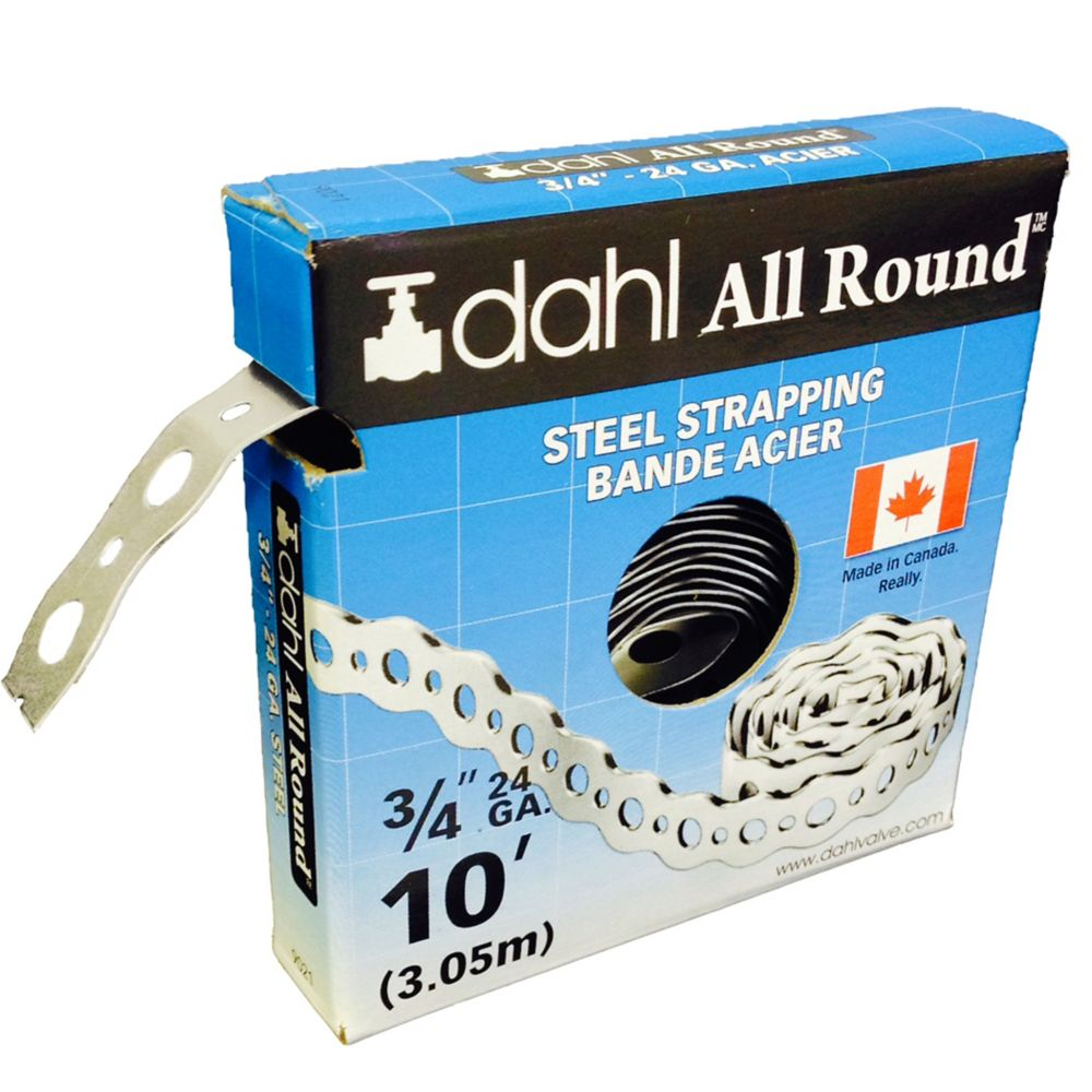 All Round Strapping, Steel, 24Ga 3/4 Inch x 10 Feet