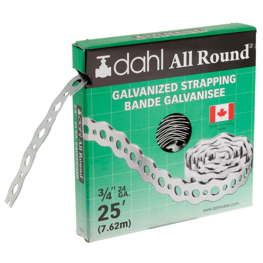 All Round Strapping, Galvanized, 24Ga 3/4 Inch x 25 Feet