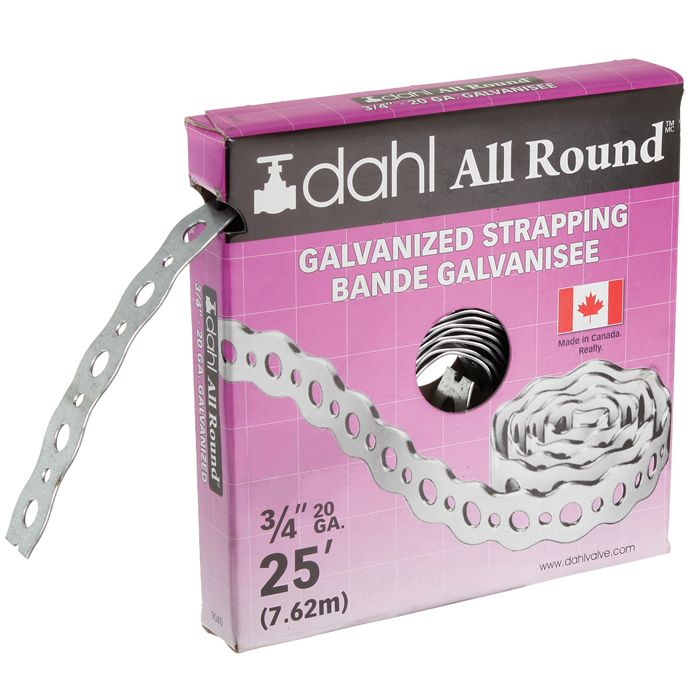 Dahl All Round Strapping, Galvanized, 20Ga 3/4 Inch x 25 Feet