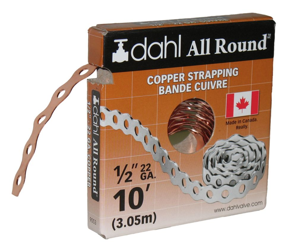 All Round Strapping, Copper, 22Ga 1/2 Inch x 10 Feet