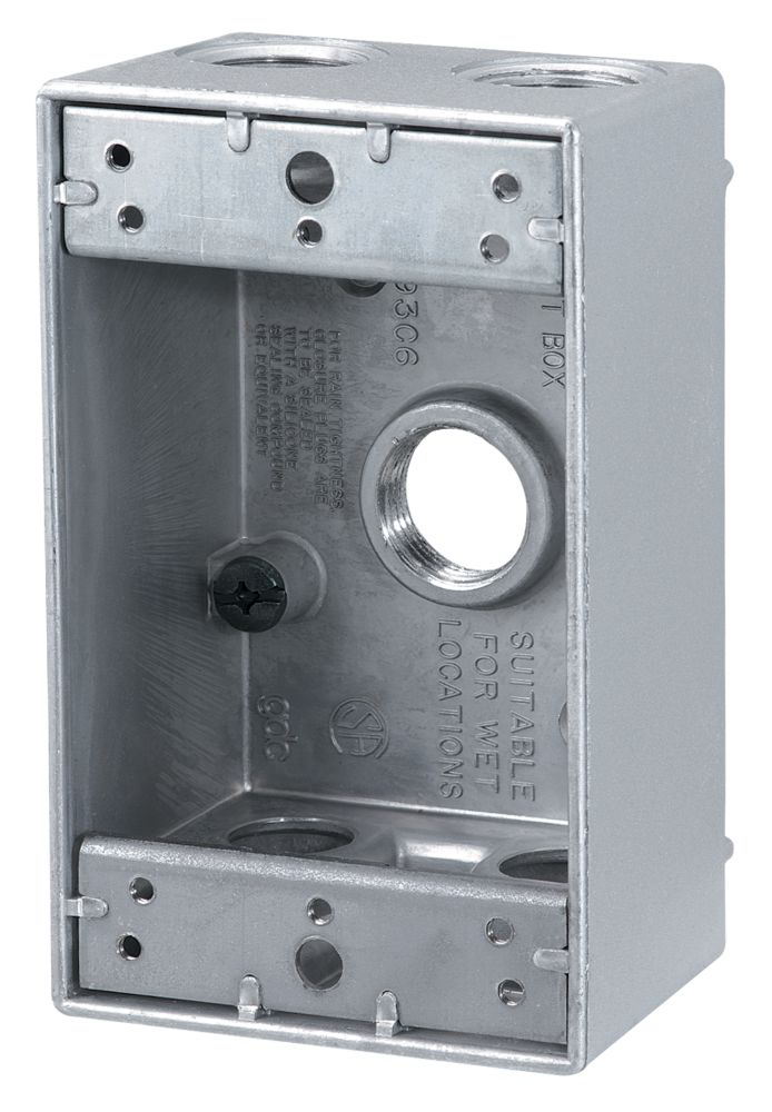 Outdoor Rectangular Box 5 x 1/2 In. Hole, Silver
