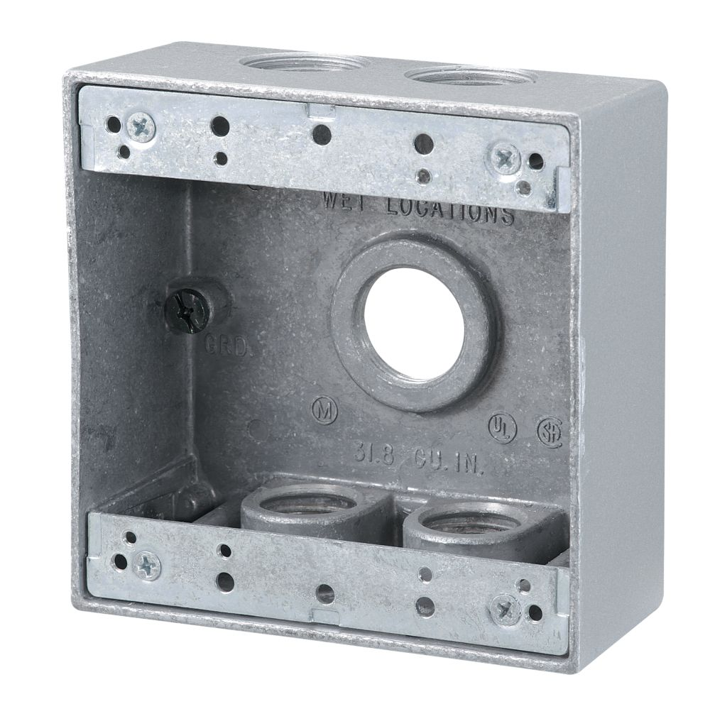 4 4 Weatherproof Electrical Box: Red Dot 2 Gang Outdoor Box 5x3/4 In. Hole, Silver