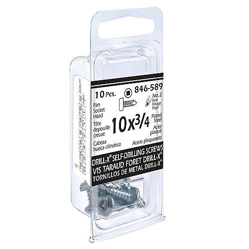Paulin #10 x 3/4-inch DRILL-X Pan Head Square Drive Drive Self-Drilling Tapping Screws - Zinc Plated (10 Pcs)
