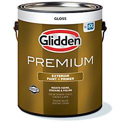 Glidden Premium Exterior Paint + Primer Gloss White 3.7 L