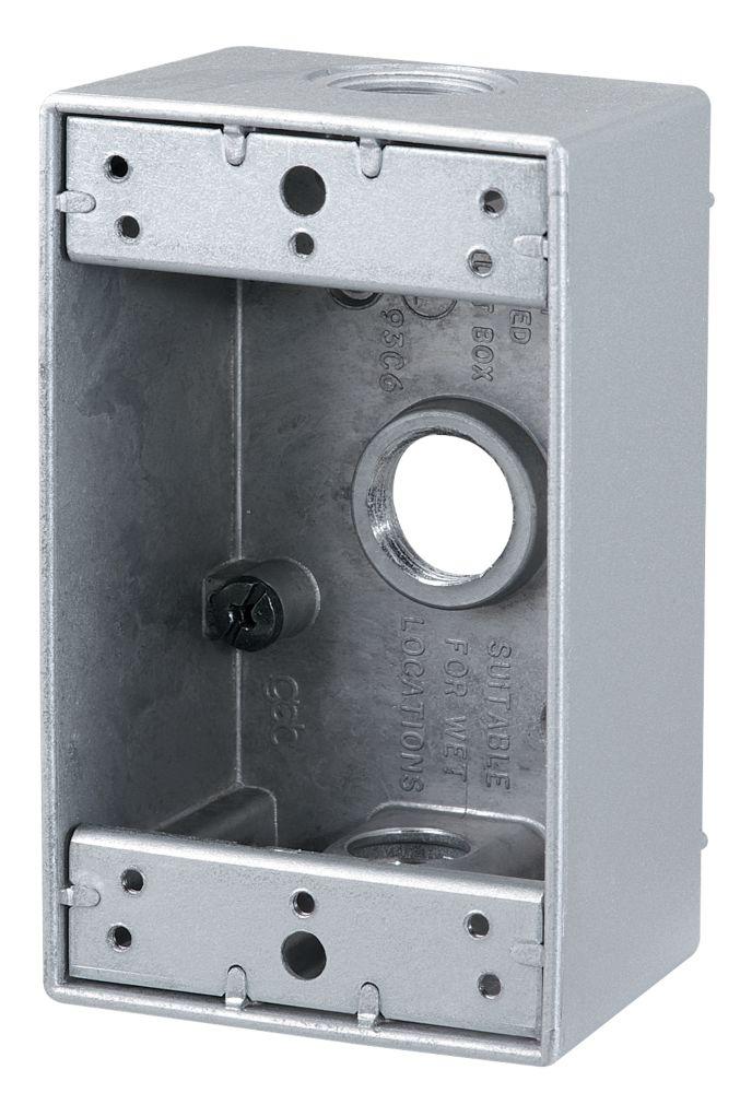 Outdoor Rectangular Box 3 x 1/2 In. Hole, Bronze