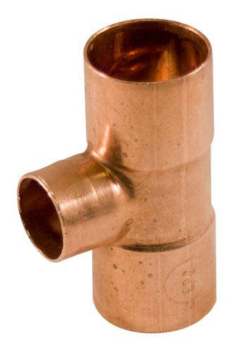 Fitting Copper Tee 3/4 Inch x 3/4 Inch x 1/2 Inch Copper To Copper To Copper