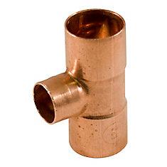 Fitting Copper Tee 3/4-inch x 3/4-inch x 1/2-inch Copper To Copper To Copper