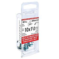 Paulin 10 x 1-1/2-inch DRILL-X Hex Washer Head Self-Drilling Tapping Screws - Zinc Plated