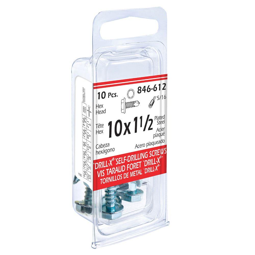 10x1-1/2 Hex Hd Drill x 10Pc Screw