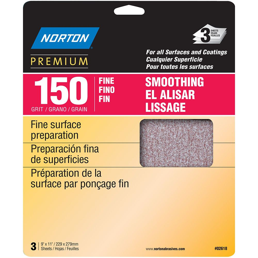 Premium  9 inch X11 inch  Sanding Sheets Fine-150 grit 3 pack