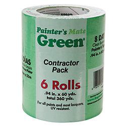 Painter's Mate Green Ruban de peintre  Vert, paquet de 6, 2,4cm x 55m (0,94po x 60v)