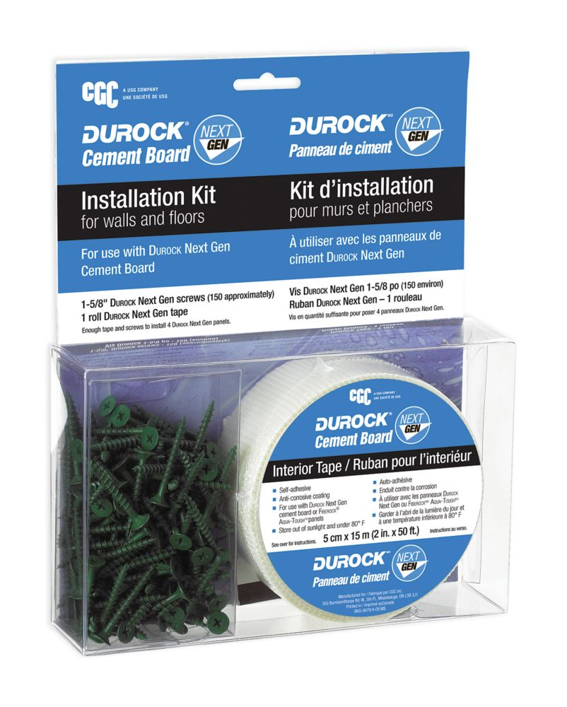 Cgc Durock Cement Board Installation Kit Interior Tape Screws The Home Depot Canada