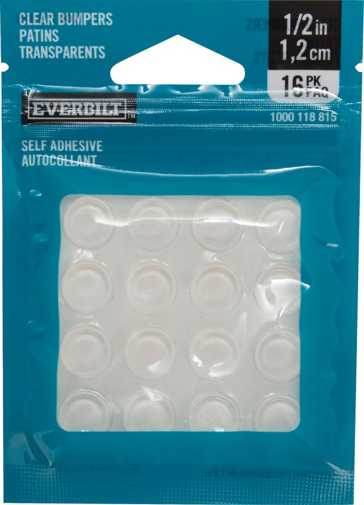 Everbilt 1/2 inch Self-Adhesive Vinyl Surface Bumpers (16 per Pack)
