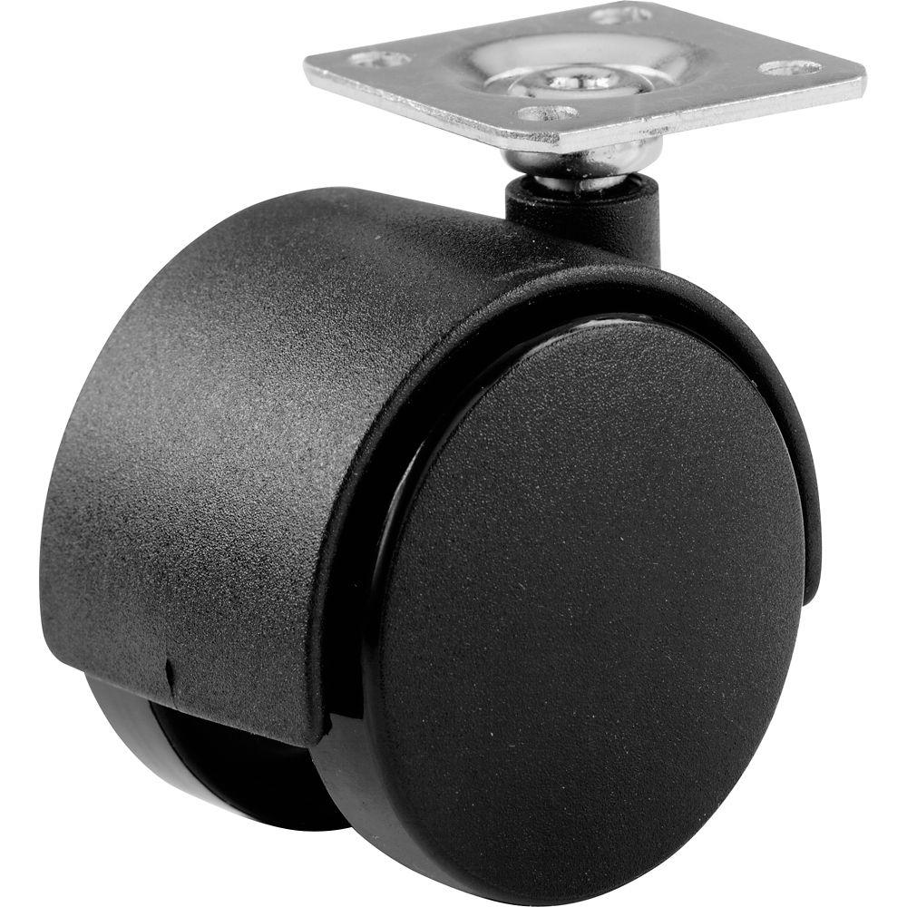 Roulette de roues jumelées noir de 40mm. à plaque.