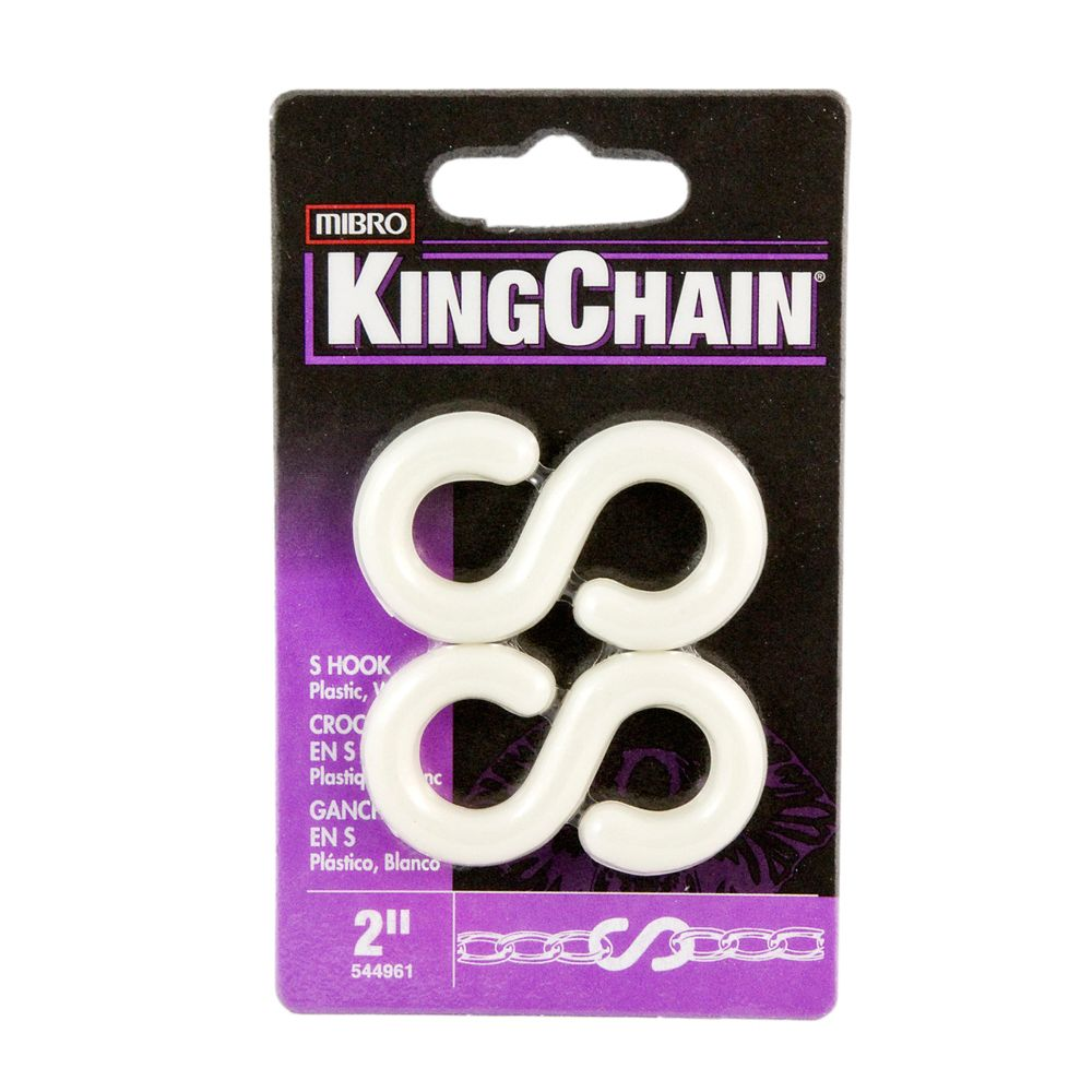 2 inches Plastic S-Hook White #8