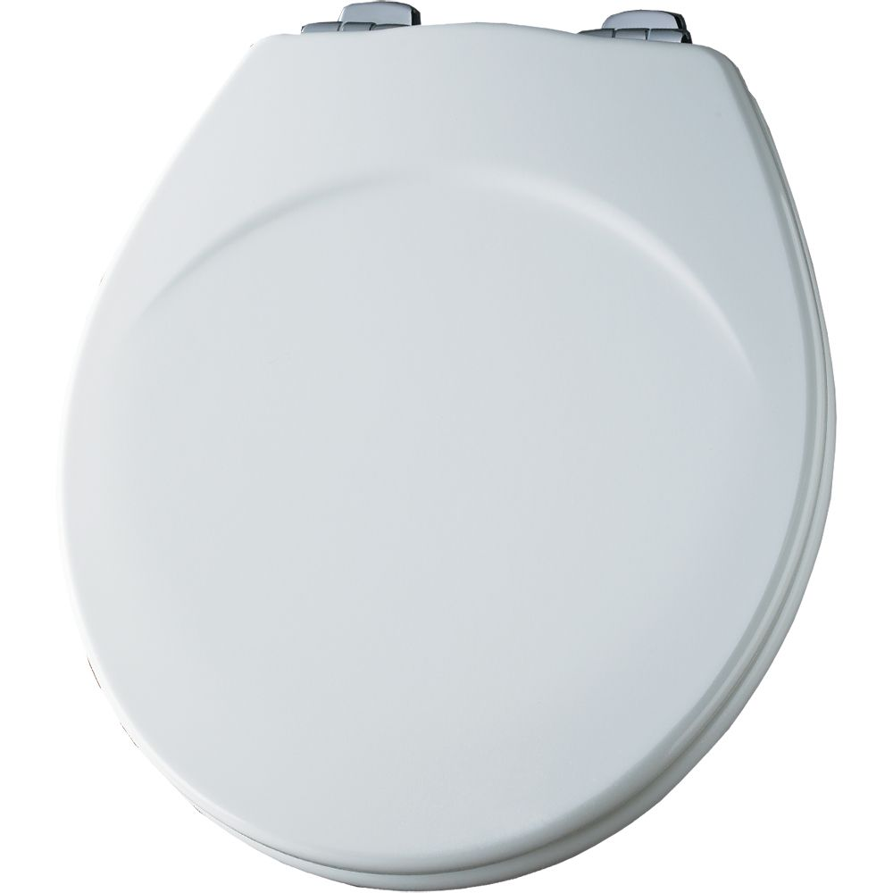 Bemis Round Wood Toilet Seat with Whisper Close Chrome Hinge in White