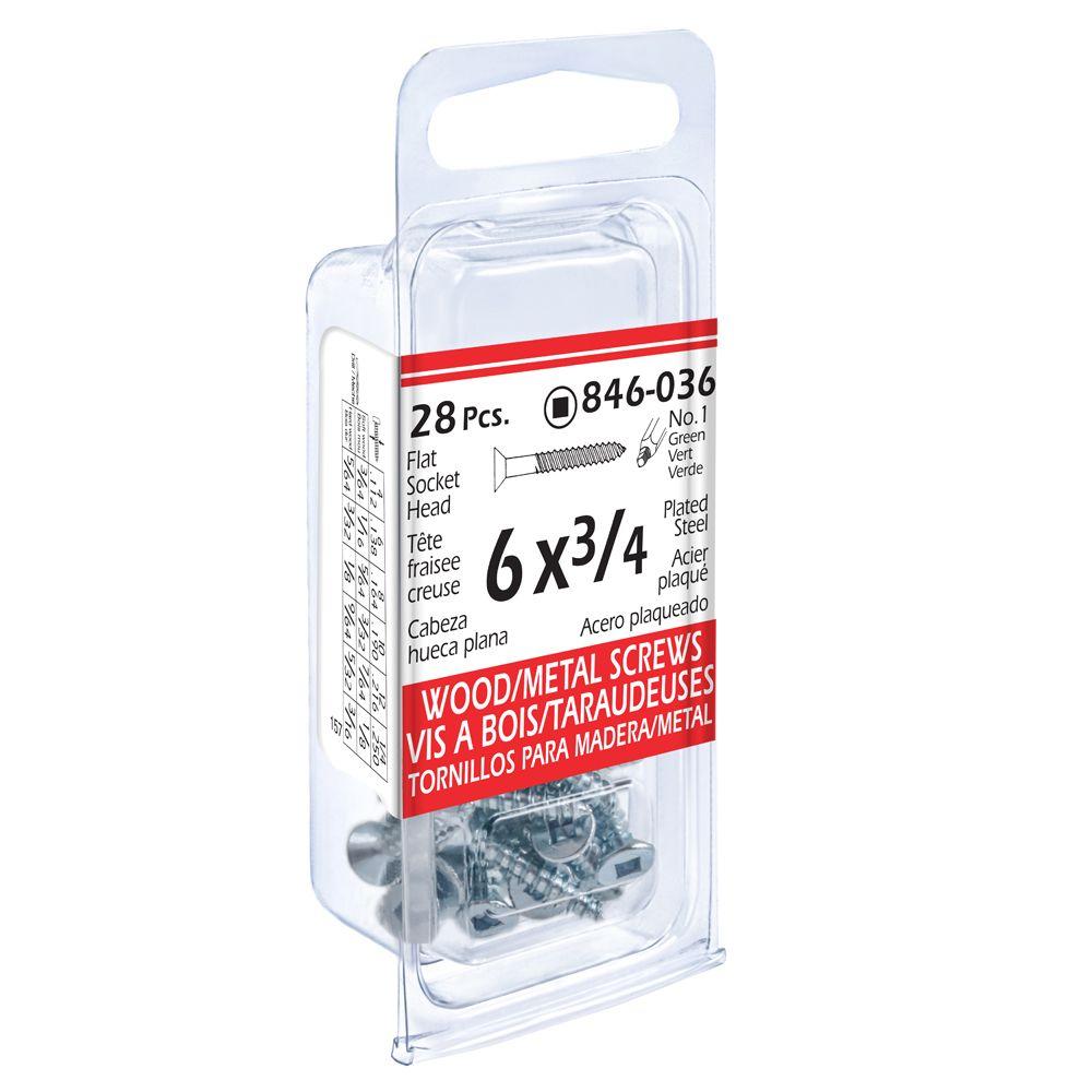 6x3/4 Fl Soc Wd/Mtl 28Pc Screws