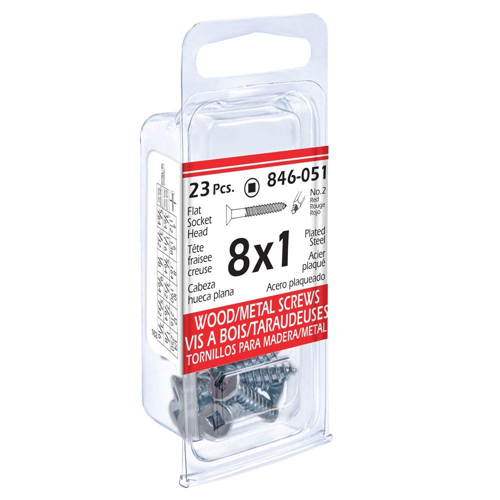 8x1 Fl Soc Wd/Mtl 23Pc Screw Pltd