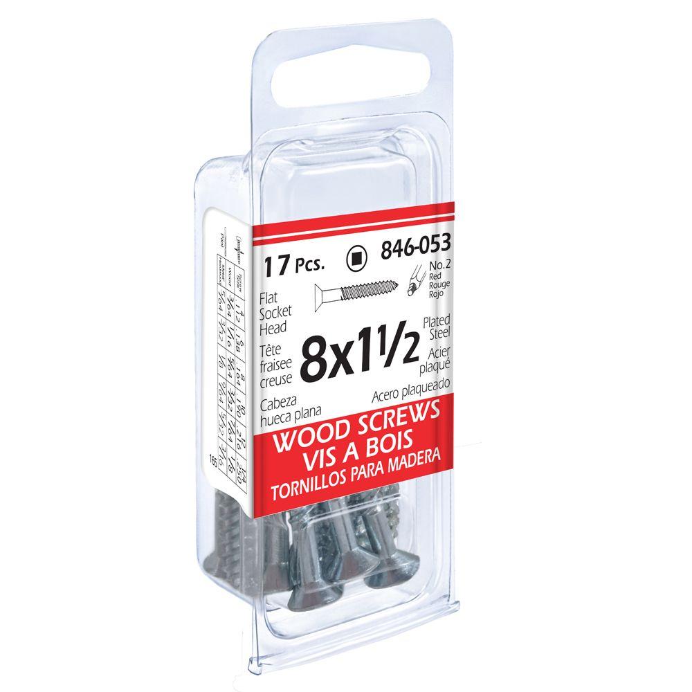 8x1-1/2 Flat Soc Wd 17Pc Screw Pltd