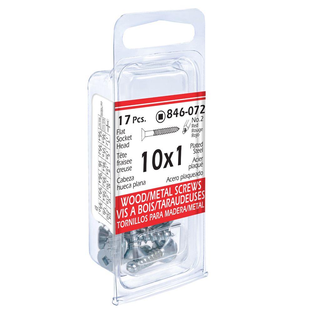 10x1 Fl Soc Wd/Mtl 17Pc Screw