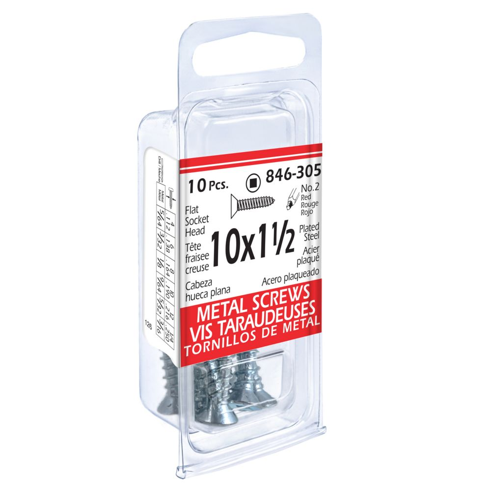 10x1-1/2 Vis Taraudeuses Fraisée Creuse