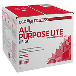 Sheetrock All Purpose-Lite Drywall Compound, Beige, Ready-Mixed, 17 L Carton