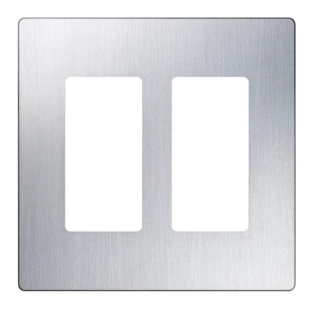 Claro 2-Gang Wallplate, Stainless Steel