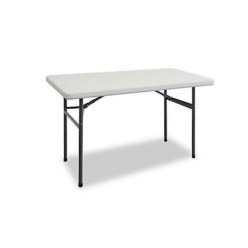 4 ft. Folding Table in White with Black Metal Frame