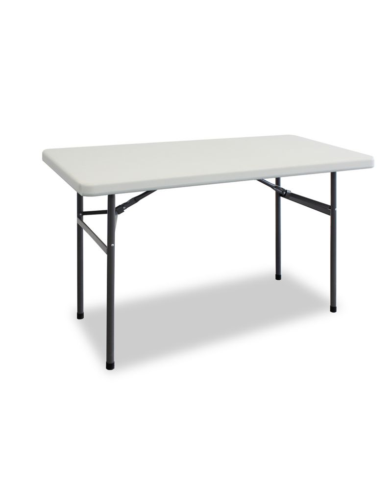 HDX 4 ft. Folding Table in White with Black Metal Frame