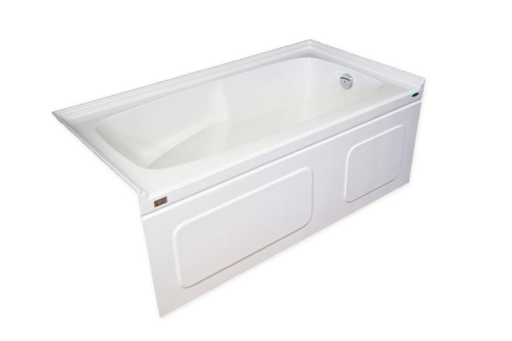 Elegance Plus 60 Inch Acrylic Skirted Bathtub With Double Tiling Flange, Right Hand Drain
