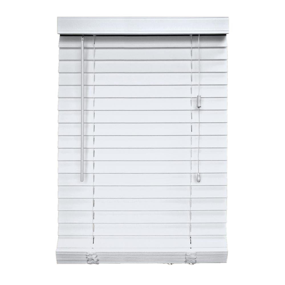 2 Inch Faux Wood Blind, White - 66 Inch x 48 Inch