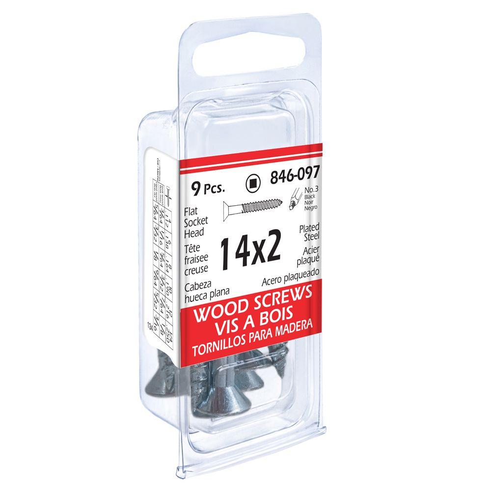 14x2 Flat Soc 10Pc Wood Screw