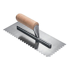 1/4 In. x 1/4 In. x 1/4 In. Flat Top V Wood Adhesive Pro Trowel