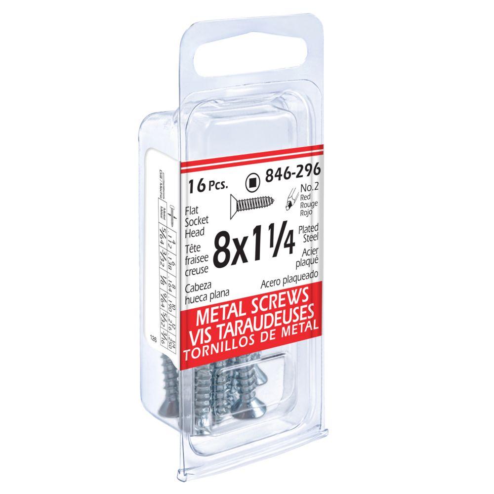 Fl Soc Metal 16Pc Screw 8x1-1/4