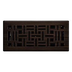 4 inch x 10 inch Arts & Craft Floor Register - Oil Rubbed Bronze