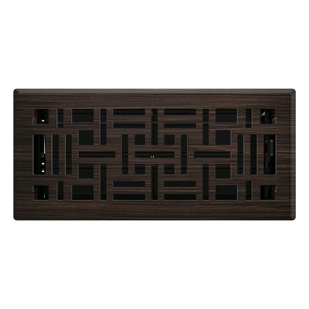 4po x 10po Registre de plancher à motif artistique bronze huilé
