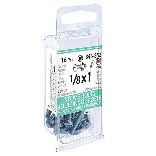 Paulin Boulon de poêle carré/fente à tête ronde de 1/8 pouce x 1 pouce avec écrou - plaqué zinc (16 pièces)