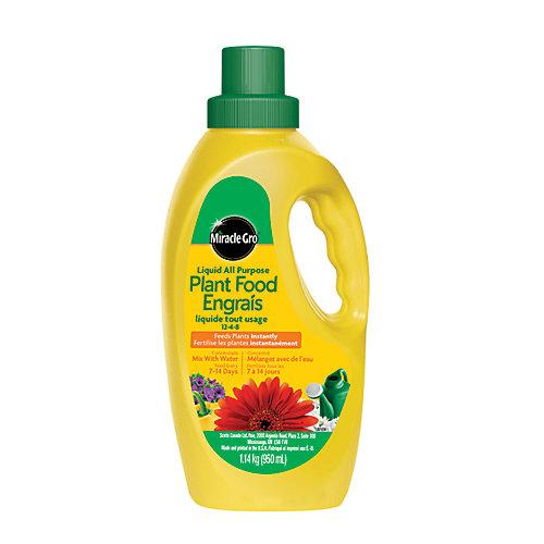 Engrais liquide concentré tout usage pour plantes Miracle-Gro 12-4-8