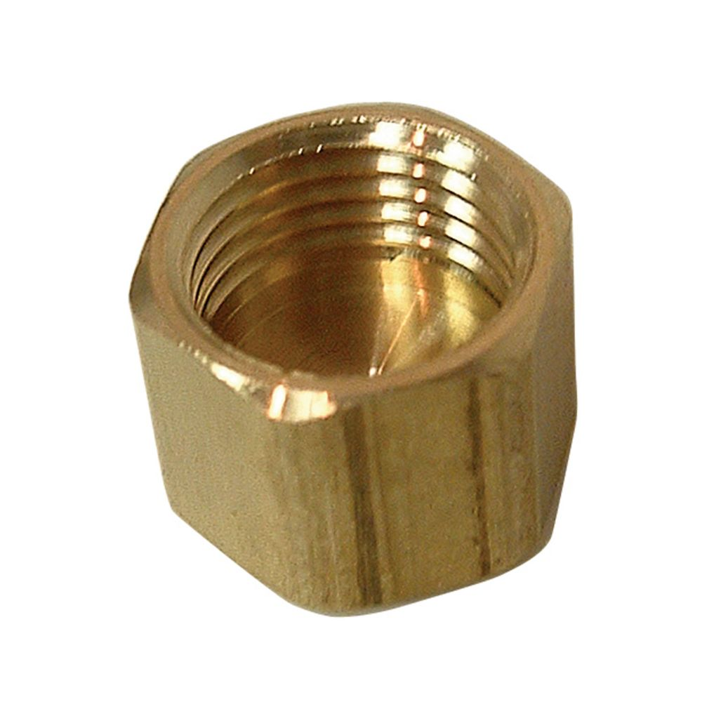 Brass compression cap less insert inches a in