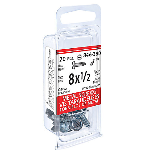 8x1/2 Hex Hd Metal 20Pc Screw