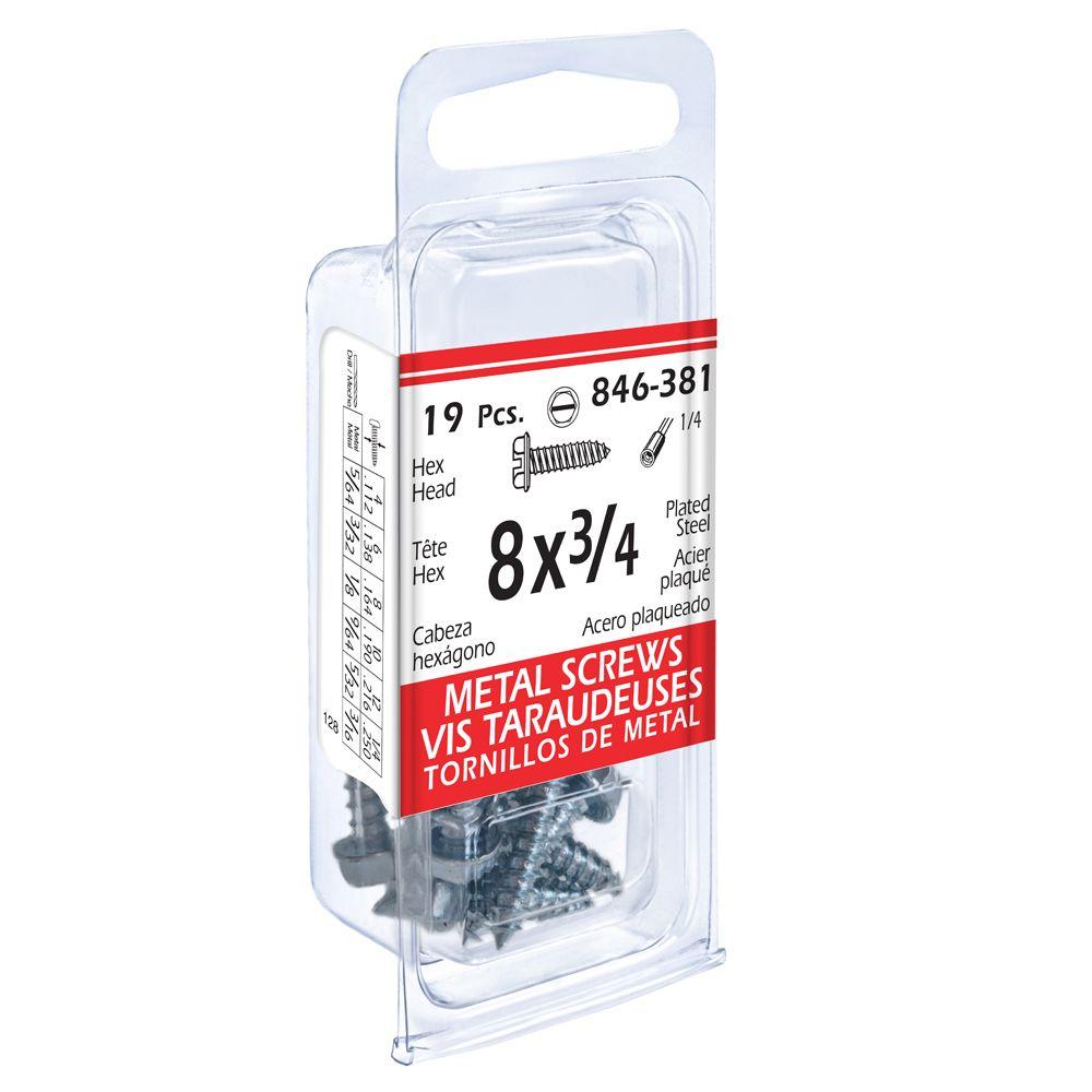 8x3/4 Hex Hd Metal 19Pc Screw
