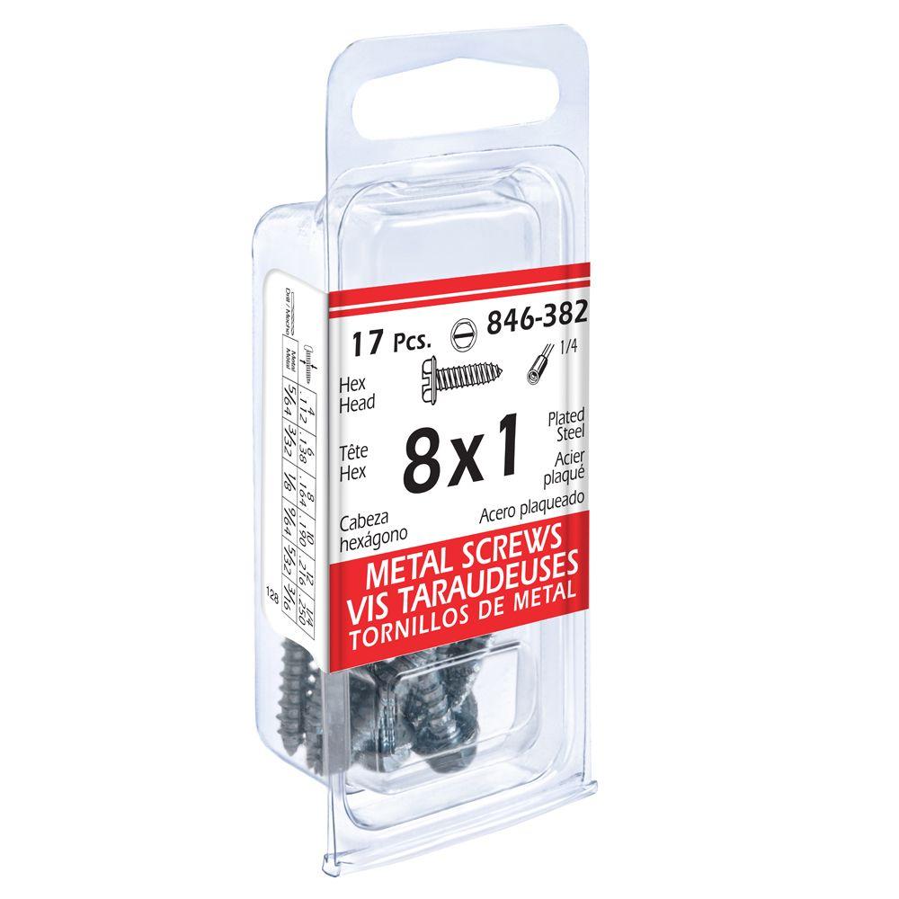 8x1 Hex Hd Metal 17Pc Screw