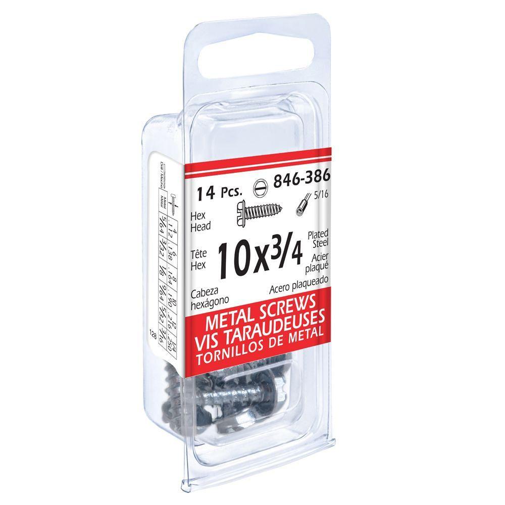 10x3/4 Hex Hd Metal 14Pc Screw