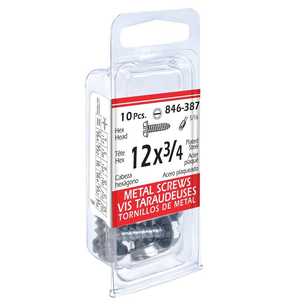 12x3/4 Hex Hd Metal 10Pc Screw