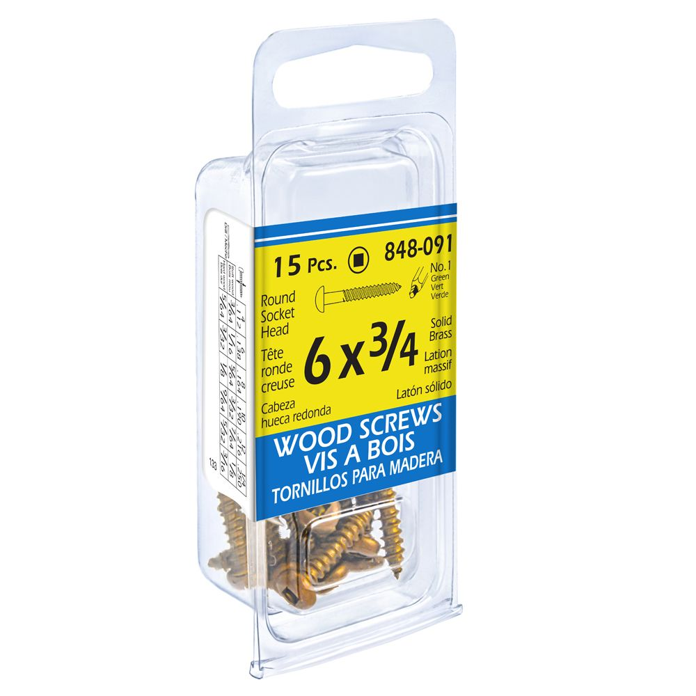 6X3/4 Rd Soc Brass Wd 15Pc Sc
