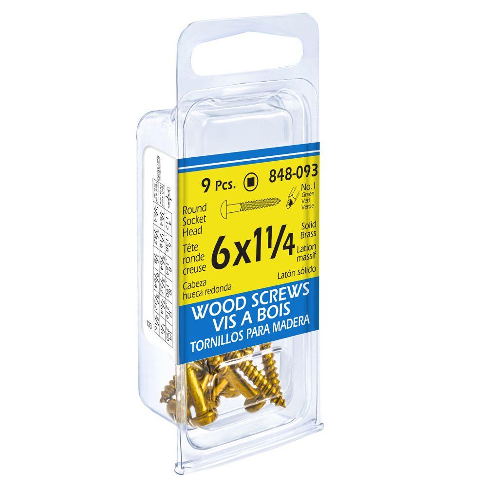Paco 6X1 1/4 Rd Soc Brass Wd Sc 9Pcs